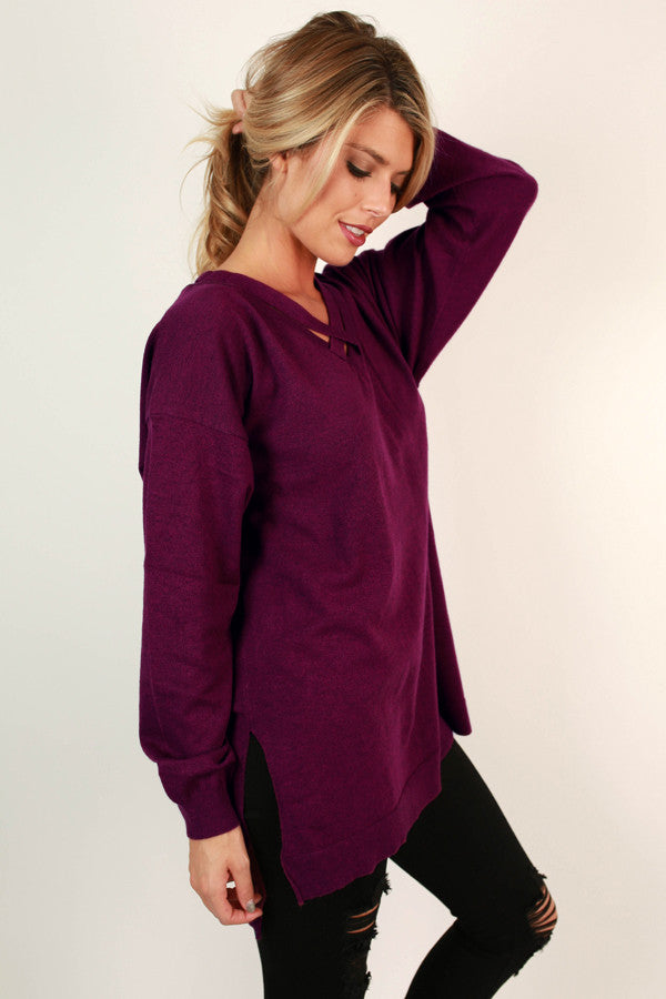 Keep A Secret Tunic Sweater in Orchid