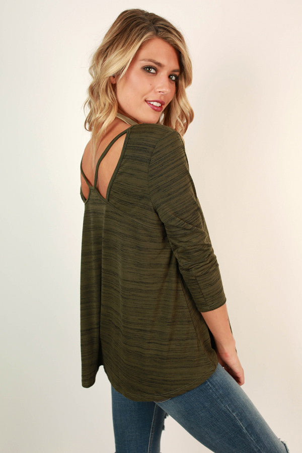 Time To Let Loose Cut Out Top In Olive