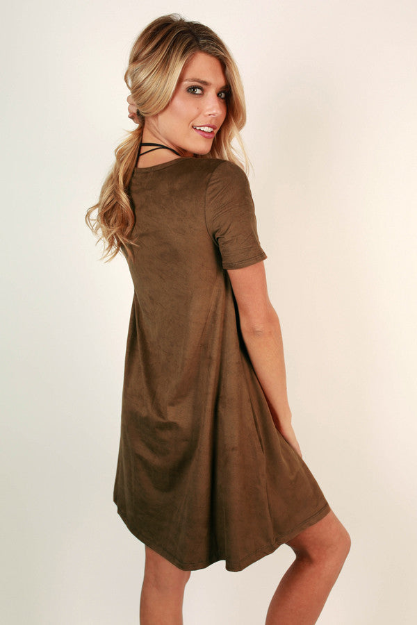 Pocket To Me Faux Suede Shift Dress In Chocolate