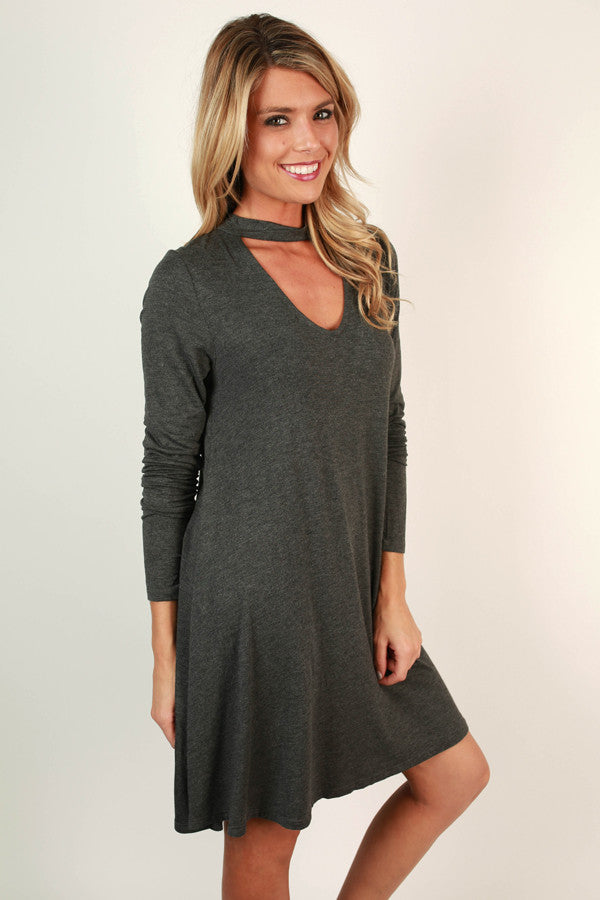 Risky Business Cut Out Dress In Charcoal