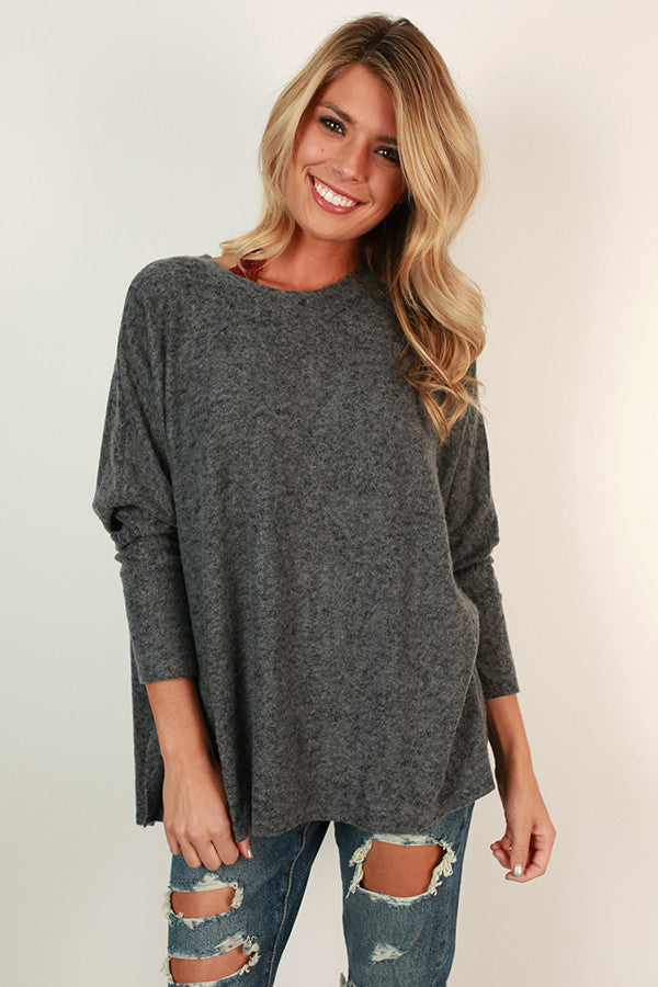 Sweeter In A Sweater Tunic in Charcoal
