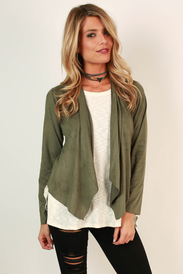 Socialite Life Faux Suede Cardi In Olive