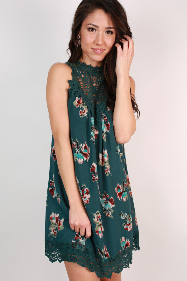 Charleston Floral Crochet Dress In Lush Meadow