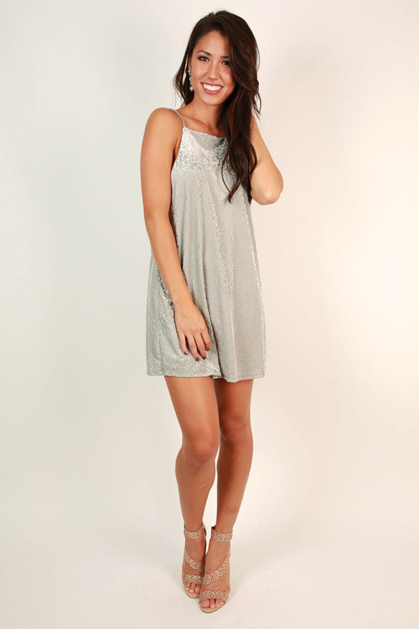 Between The Lines Velvet Shift Dress In Grey
