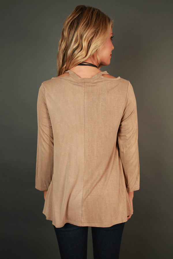 Saturday Smiles Cut Out Top In Warm Taupe