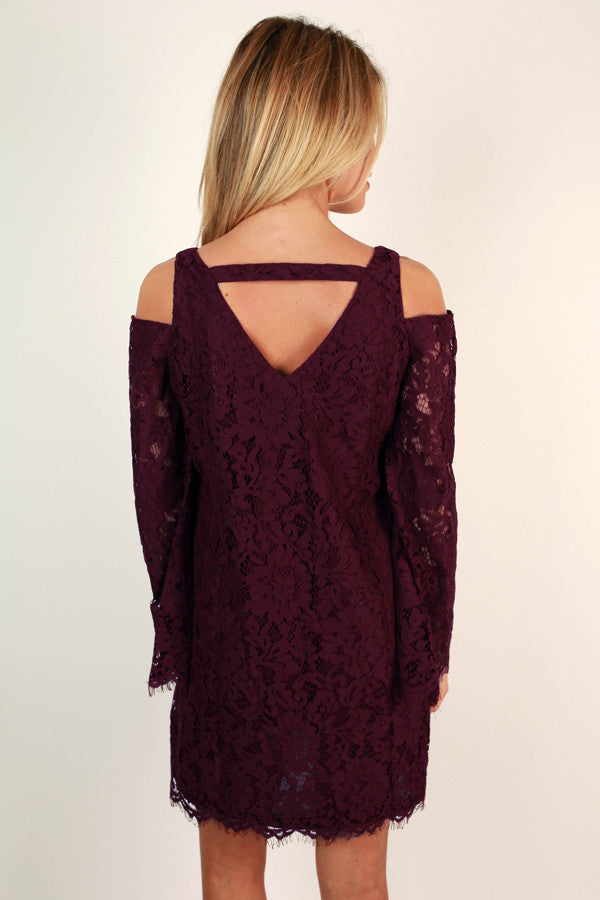 Time To Fall In Love Lace Dress In Wine
