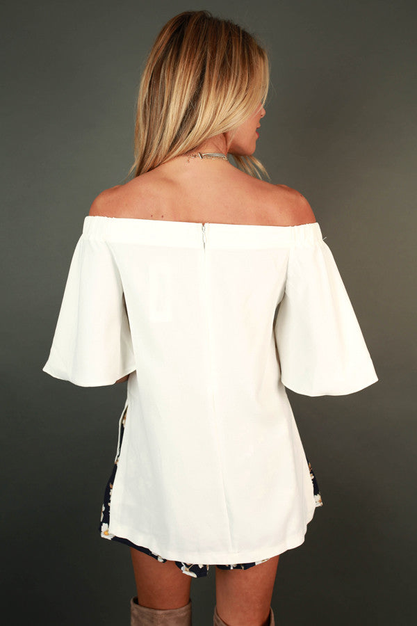 Take Me Away Off The Shoulder Top In White
