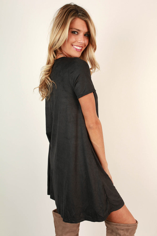 Pocket To Me Faux Suede Shift Dress In Black