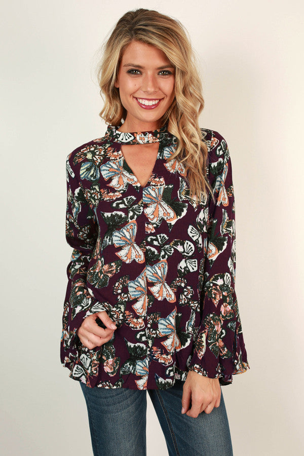 Butterfly Garden Top In Windsor Wine