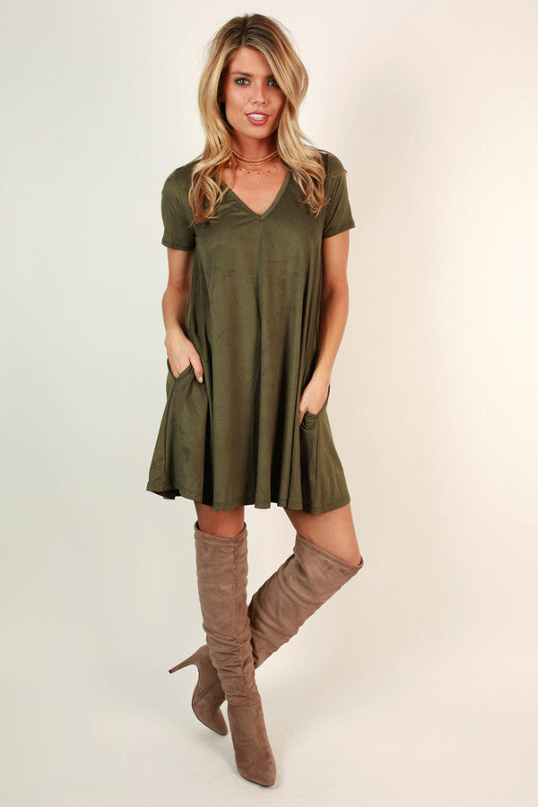 Pocket To Me Faux Suede Shift Dress In Army Green