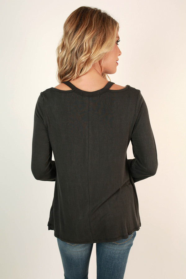 Saturday Smiles Cut Out Top In Black