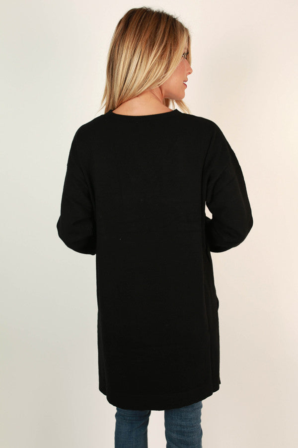 Keep A Secret Tunic Sweater in Black