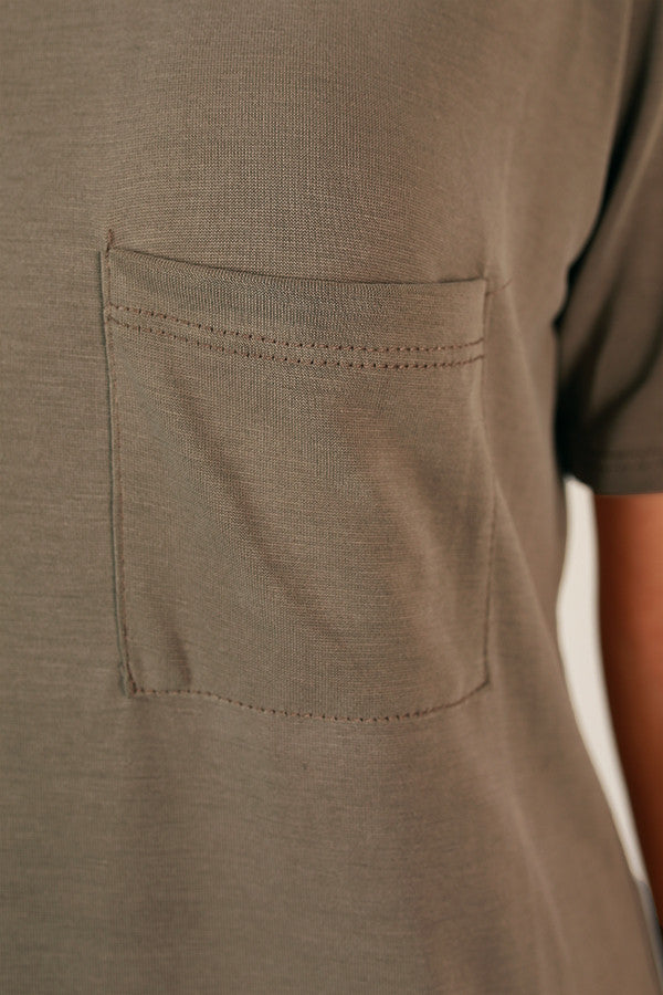 Everyday Perfection Pocket Tee in Taupe