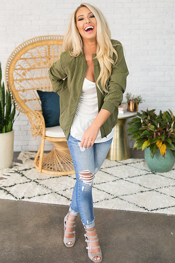 Flight To Italy Bomber Jacket In Army Green