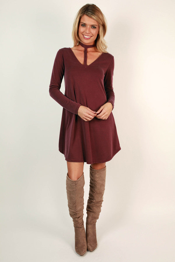 Wink At Ya Tunic Dress in Wine