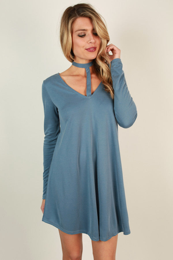 Wink At Ya Tunic Dress in Airy Blue
