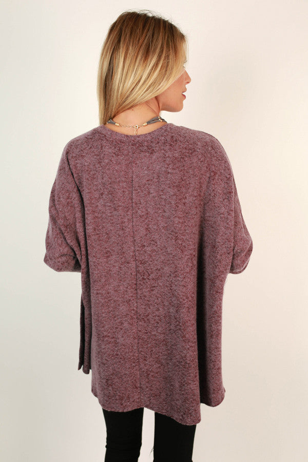 Sweeter In A Sweater Tunic in Sangria