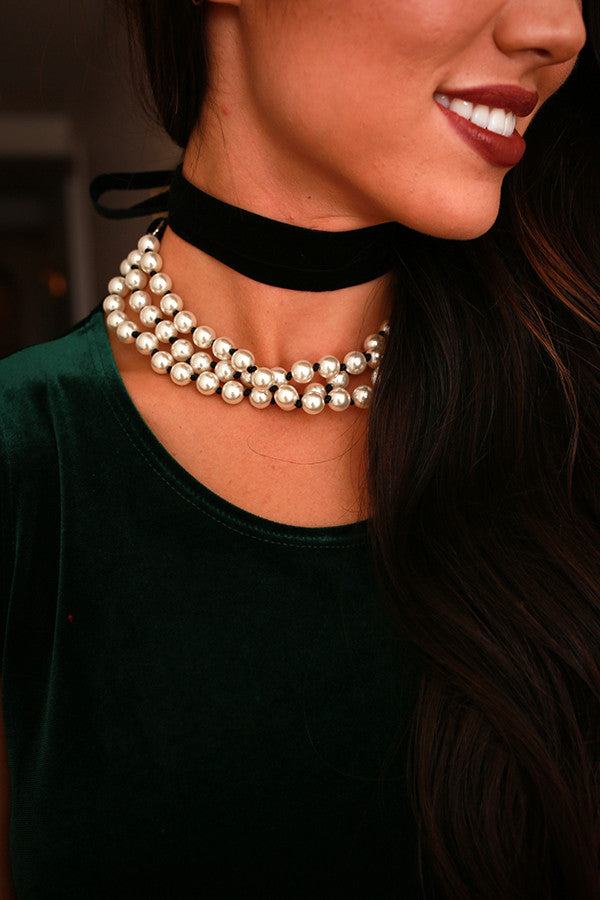 For The Love Of Pearl Necklace in Black