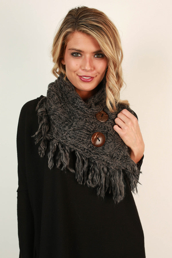 Coffee Shop Cuddles Infinity Scarf In Charcoal