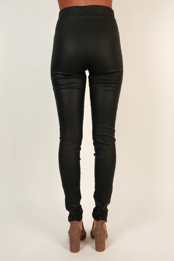 Queen Bee Faux Leather Leggings In Black