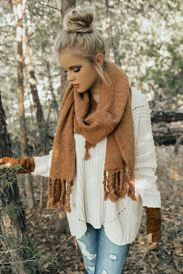 Pumpkin Patch Tasseled Blanket Scarf In Cinnamon