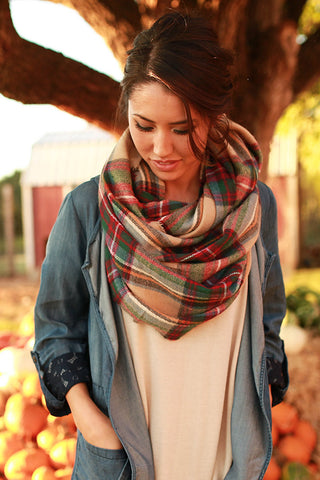 Cozy Love Infinity Blanket Scarf In Tan