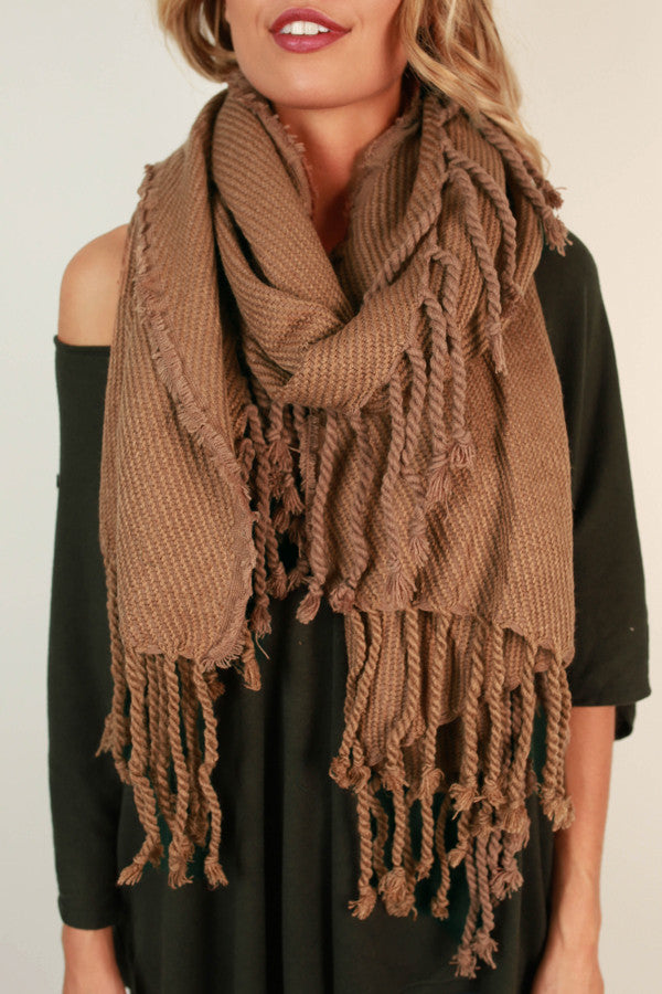 Pumpkin Spice Tasseled Knit Scarf In Brown