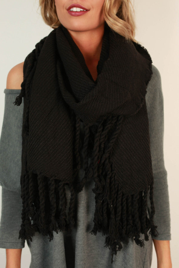 Pumpkin Spice Tasseled Knit Scarf In Black
