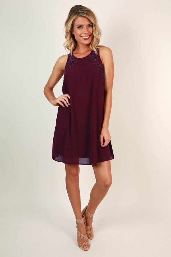 Savvy in the City Shift Dress in Sangria