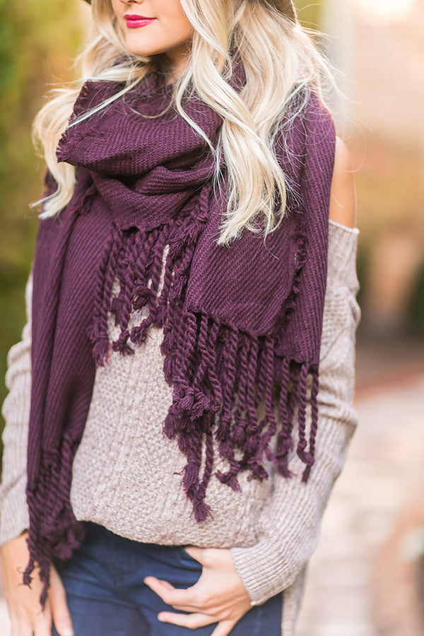 Pumpkin Spice Tasseled Knit Scarf In Dark Purple
