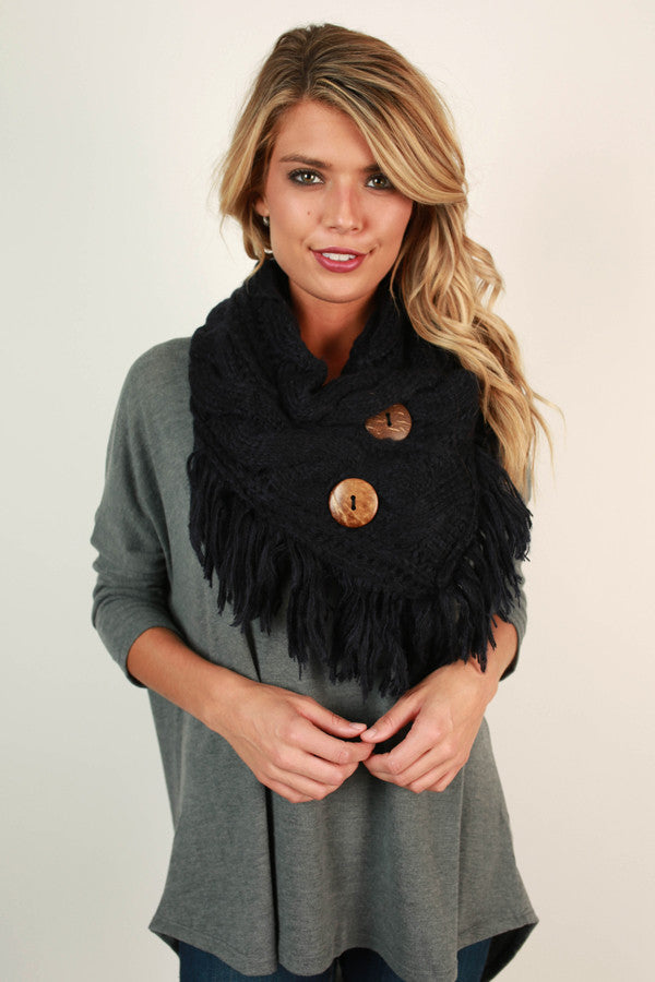 Coffee Shop Cuddles Infinity Scarf In Navy