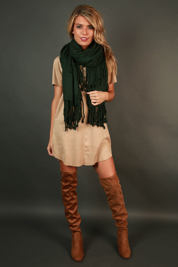 Pumpkin Spice Tasseled Knit Scarf In Hunter Green