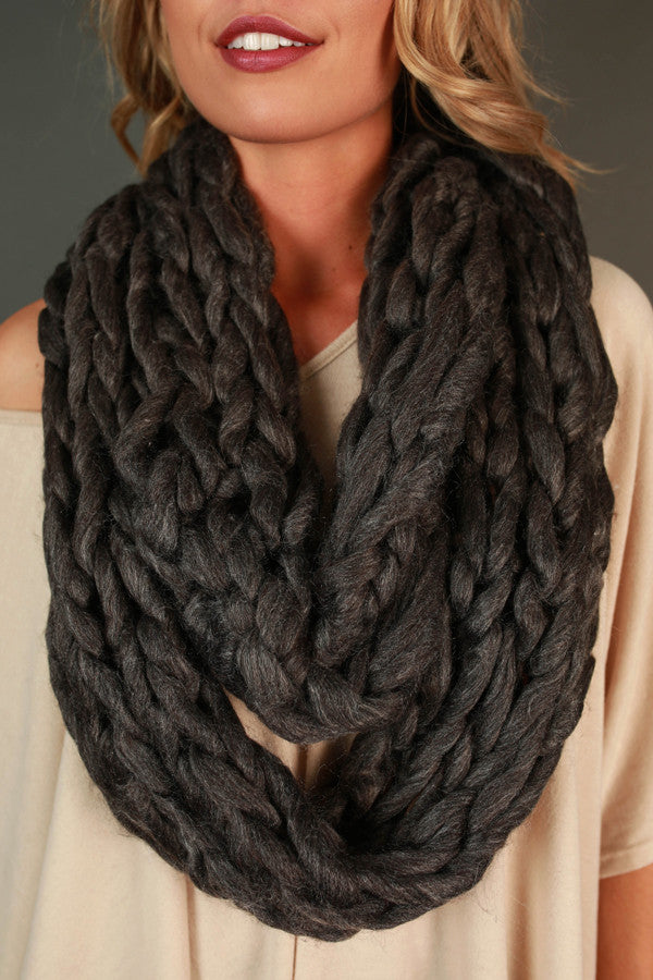 Coffee Cuddles Ultra Soft Infinity Scarf in Charcoal