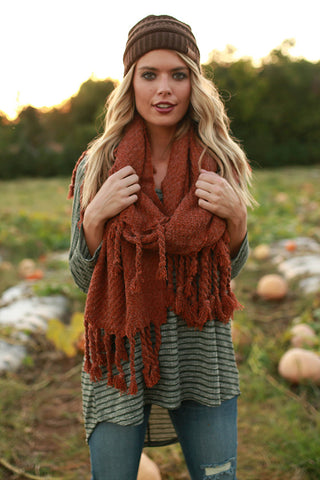 Pumpkin Patch Tasseled Blanket Scarf In Rustic Rose