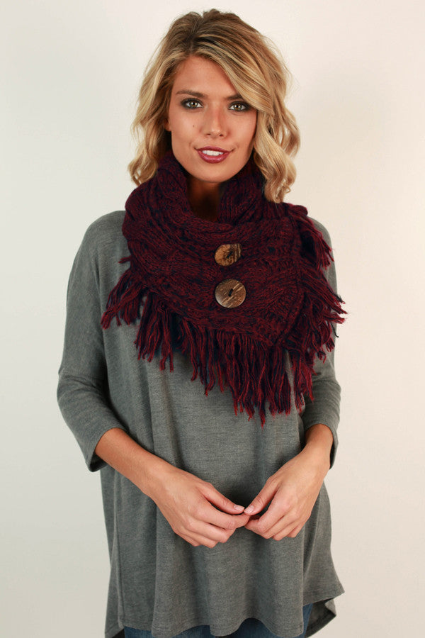 Coffee Shop Cuddles Infinity Scarf In Burgundy