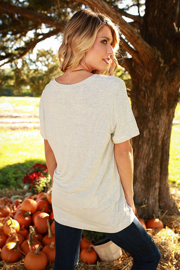 Vineyard Stripe Deep V-Neck Tee