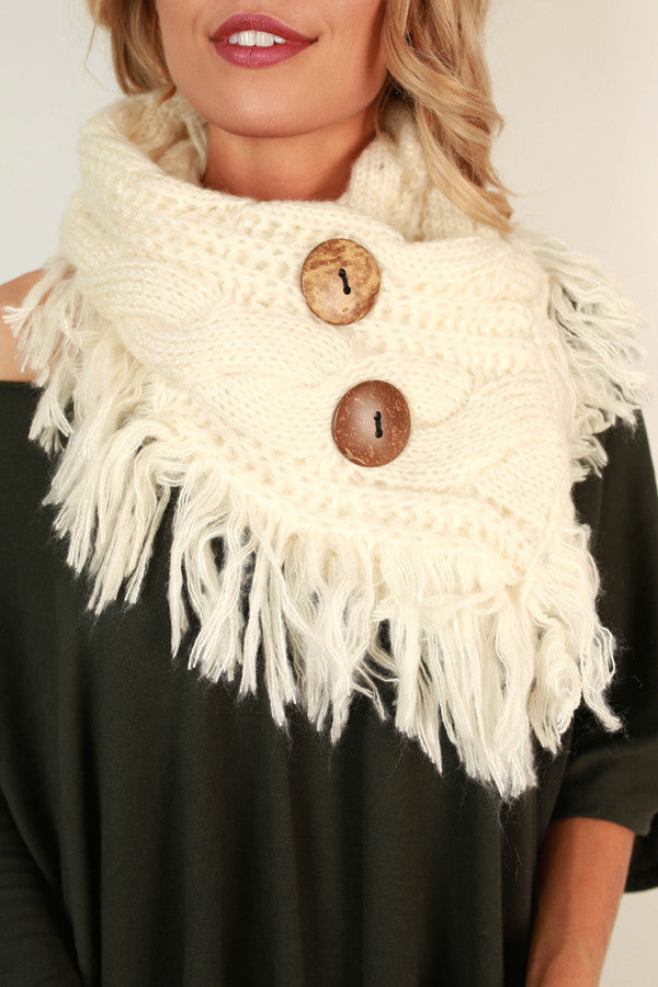 Coffee Shop Cuddles Infinity Scarf In Ivory
