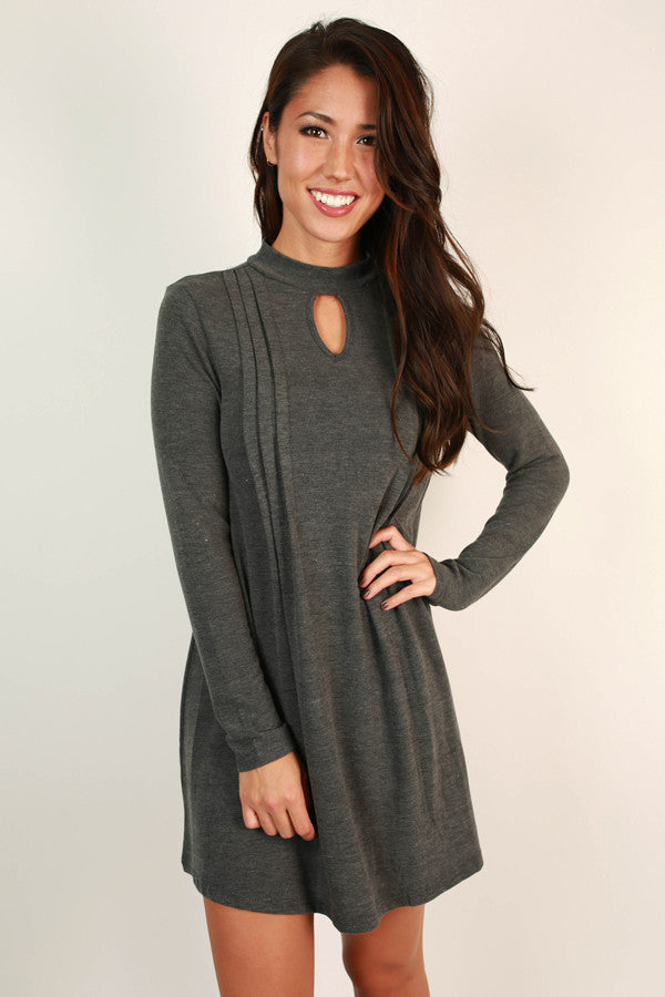 Carefree Beauty Cut Out Dress in Charcoal