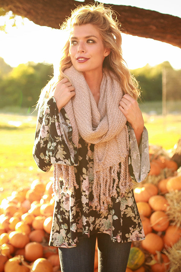 Pumpkin Patch Tasseled Blanket Scarf In Blush
