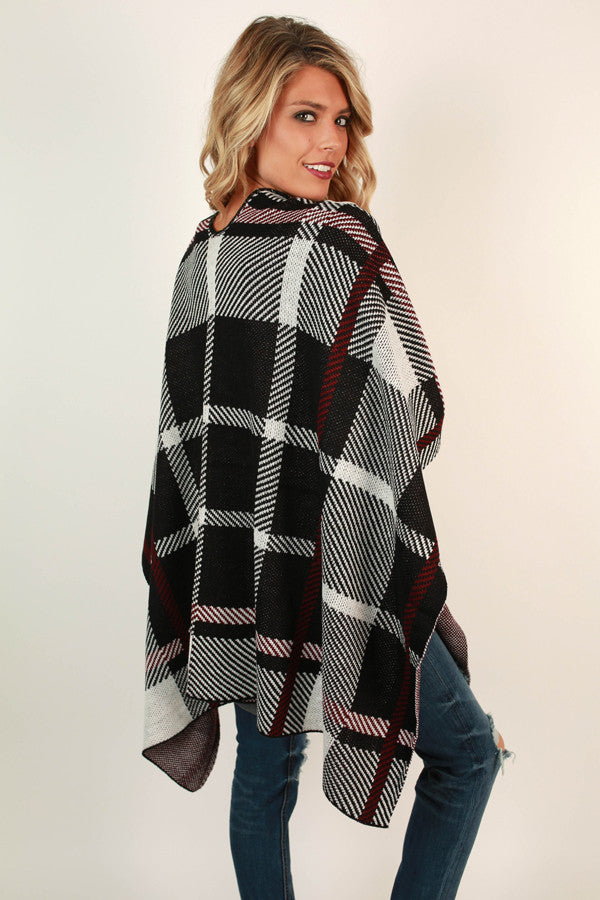 Latte Lovely Plaid Poncho