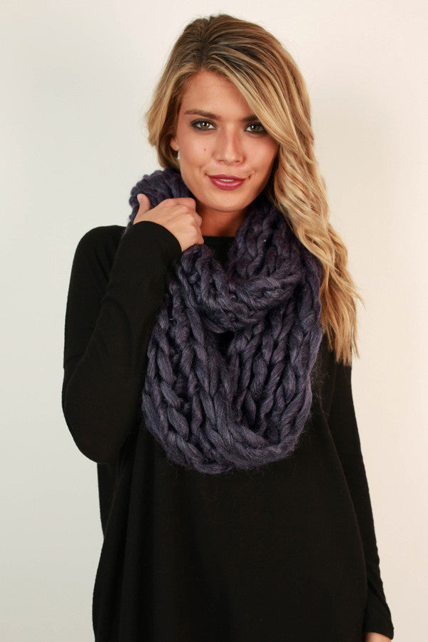 Coffee Cuddles Ultra Soft Infinity Scarf in Purple