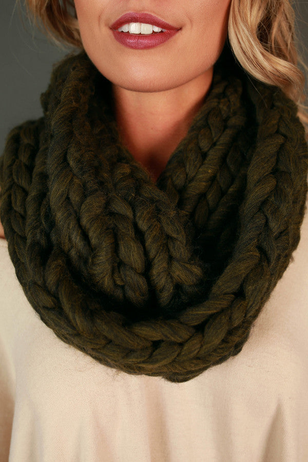 Coffee Cuddles Ultra Soft Infinity Scarf in Army Green