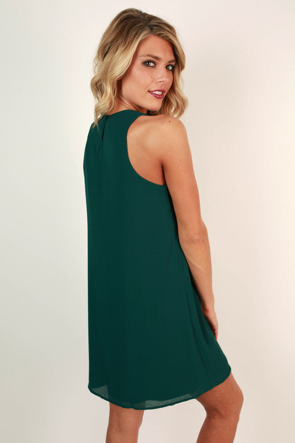 Savvy in the City Shift Dress in Dark Emerald
