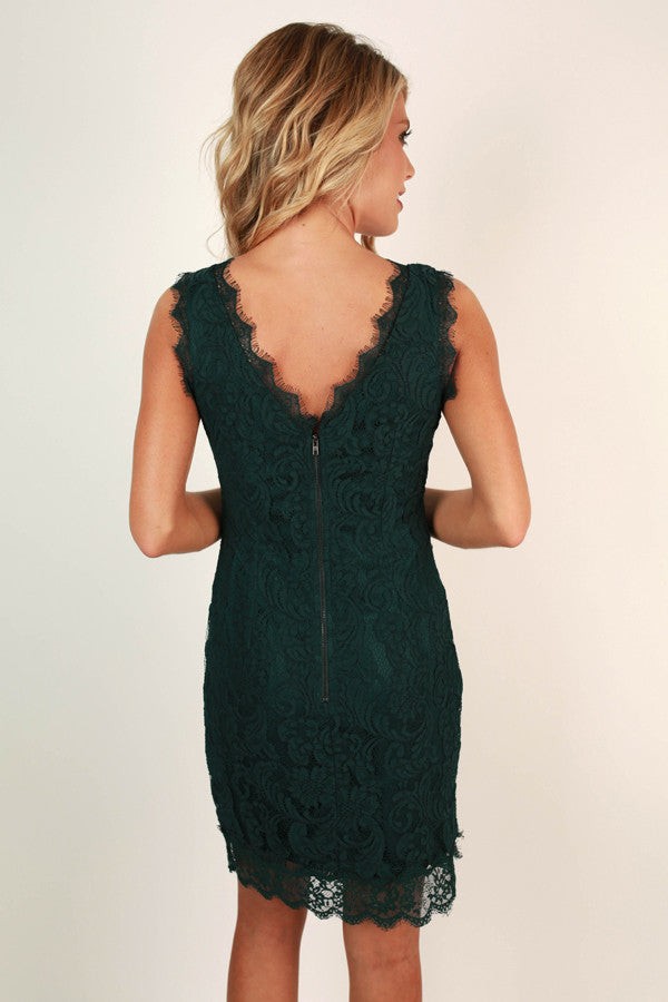 Toast To Perfection Lace Dress In Lush Meadow