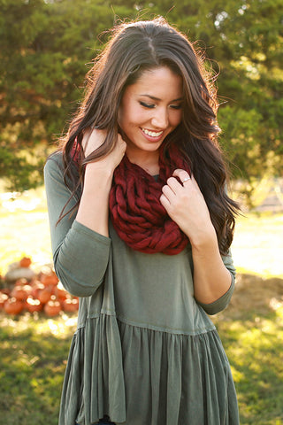 Coffee Cuddles Ultra Soft Infinity Scarf in Crimson