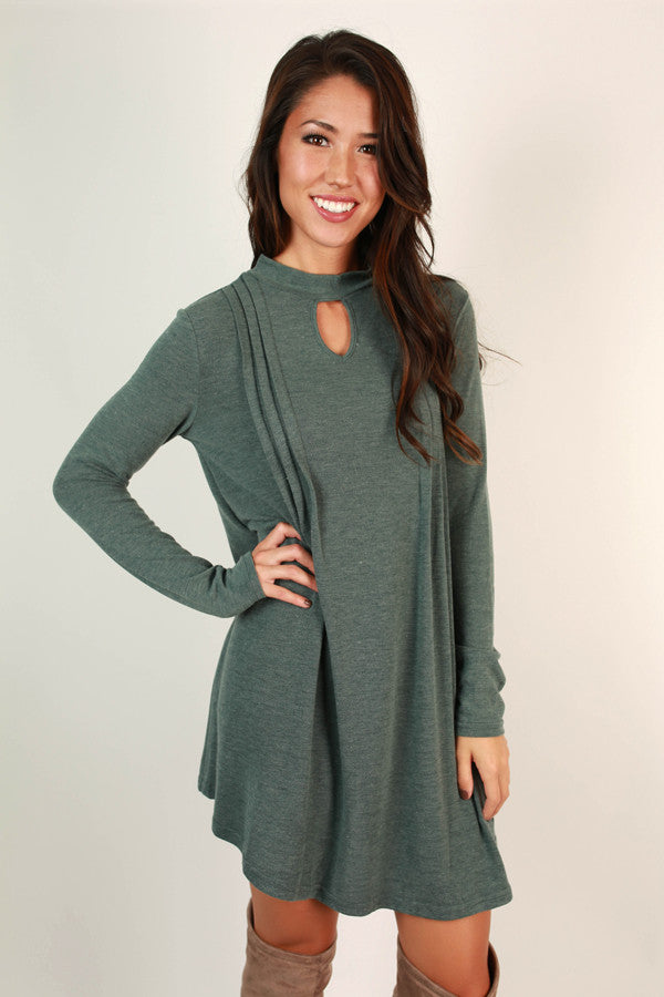 Carefree Beauty Cut Out Dress in Teal