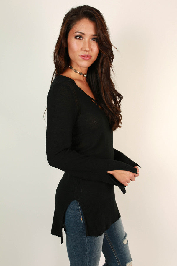 Daring Darling Cut Out Tunic in Black