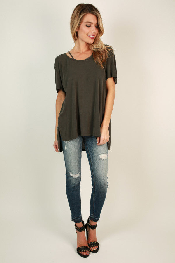 Call Me Queen Cut Out Top in Forest