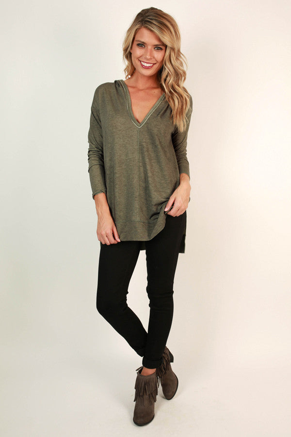 I'm All Yours Tunic Hoodie in Sage