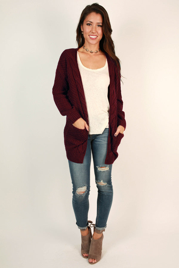 Cheers To Cozy Cardi in Wine